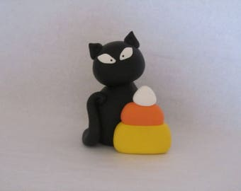 Halloween Black Cat and Candy Corn