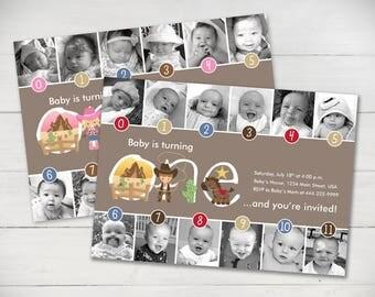Cowgirl/Cowboy Timeline 1st Birthday Invitation (Girl or Boy) - Digital File