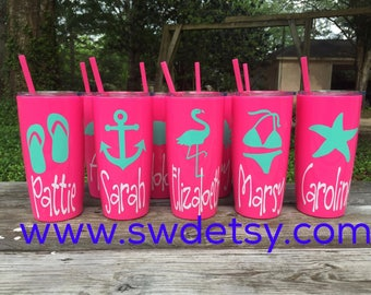 Personalized Beach Bachelorette Tumblers / Girls Weekend / Yeti like tumblers w/ Lid & Straw / Personalized Party Cups / Bridesmaids