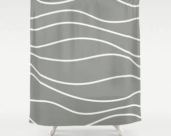 Premium Smooth FABRIC SHOWER CURTAIN Medium Dark Gray Wavy White Lines Stripes Neutral Minimalist Contemporary . Machine Wash Tumble Dry