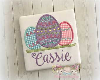 Embroidered Easter shirt - Easter eggs shirt - pastel Easter eggs - Egg hunting shirt - 1st Easter shirt for girls - decorated Easter eggs