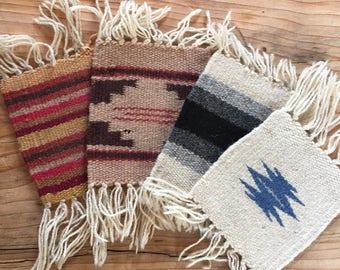 woven native rug coasters