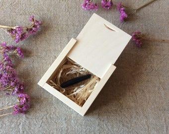 Wooden USB Box, Set of 10,  Sliding Lid Boxes, USB Wooden Case, Unfinished Wood Square Box, Wedding USB Case