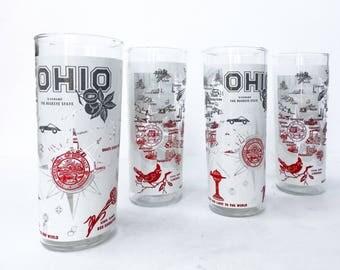 Vintage Ohio State Souvenir Glasses Drinking Glasses Buckeye Barware Vintage Drinkware Ice Tea Glasses Vintage Tumblers Ohio State Buckeyes