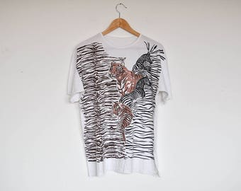 Vintage Oversized T-Shirt Jungle Animals Printed Cotton Tee Top White Shirt