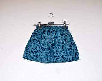 Vintage Torquoise Elastic Waist Polka Dot Mini Skirt