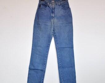 Vintage Light Blue Denim Armani Skinny Jeans High Waist Stretchy Pants