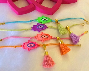 Hamsa and evil eye amulet tassel bracelets , bohemian gypsy good luck bracelets , Ethnic Turkish tassel bracelet with Hamsa