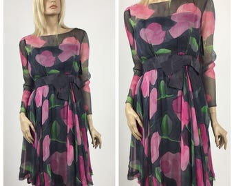 Vintage Couture 1960's Silk Chiffon Cocktail Dress - Pink, Grey & Green Watercolour Floral Print - Pink Roses - Swing Dress - Size 4 to 6