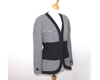 Karl lagerfeld black and white check wool jacket. KL by Karl lagerfeld. vintage 80s wool jacket. Medium size