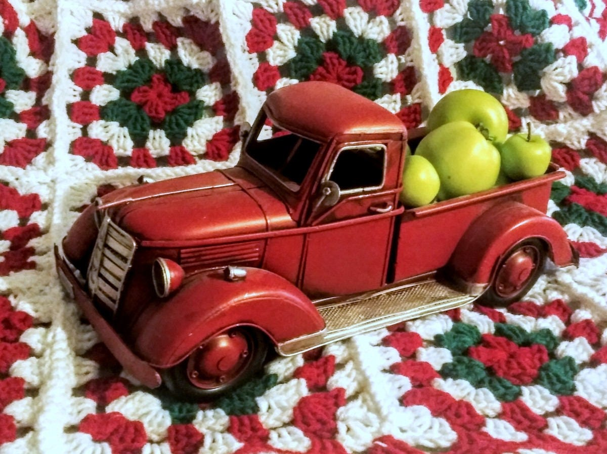 Red Metal Planter: Red Metal Truck, Toy Table Top Truck, Christmas Decor
