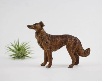 Vintage Cast Metal Borzoi Russian Wolfhound Dog Figurine - Made in Germany