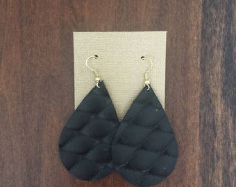 Black Quilted Leather Earrings