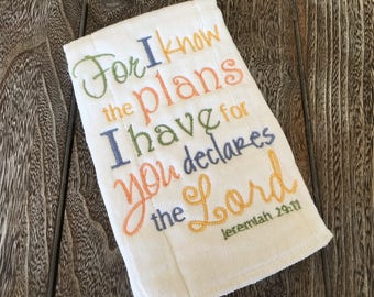 Burp Cloth, Large Burp Cloth, Jeremiah 29:11, Neutral Burp Cloth