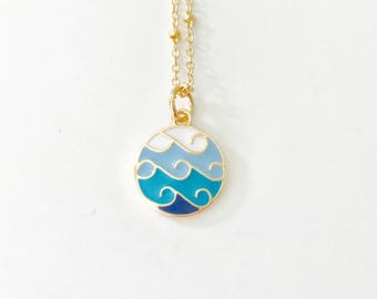 Ombre Wave Necklace, ocean wave necklace, blue and gold, ocean jewelry