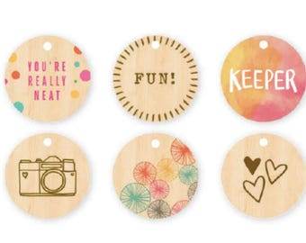 Amy Tangerine Rise and Shine -  Wood Circle Tags  -- MSRP 5.00