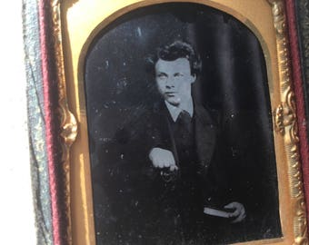 French vintage Ambrotype (Photo on glass) 19th vintage ephemera, picture, Photograph of young man