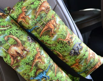 Travel Pillow Seat Belt Cover  Present Gift Road Trip Camping Gear Car Seat Dinosaur Print Pillow  Large Neck Support Traveling Pillow