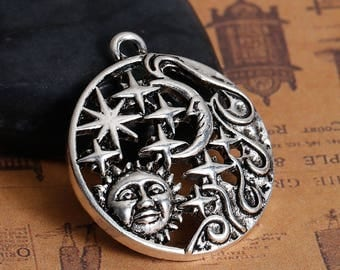 1 Sun Moon Pendant - Antique Silver - LARGE - 35x30mm - Ships IMMEDIATELY from California - SC1371