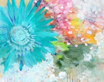 """Large Abstract Floral, Colorful Flower Painting on Canvas, Original Artwork  30x30"""" """"Jubilee"""""""