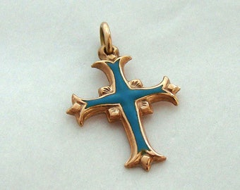 14K Vintage Ornate Enamel Cross Pendant