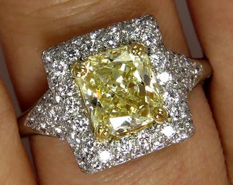 "Estate ""Canary""  2.56ctw Natural Fancy  YELLOW Radiant Cut Diamond Wedding  Ring in Diamond Halo Pave"