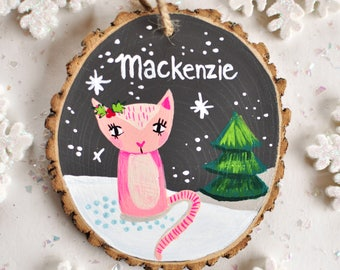 Cat Ornament, Children's Ornament, Christmas gifts for girls, Kids Personalized Ornament, Painted Wood Ornament, Custom Baby Girl Gift