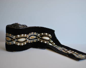 Embroidered Trim - 12 feet - Black / Gold / White / - Boho, Sewing, Notions, Costume, Home Decor, Tapestry