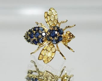 14K Bumble Bee Bug Sapphire Pendant Brooch Necklace