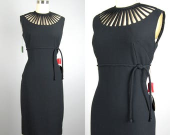 Vintage 1950s 1960s Dress 50s 60s NOS Black Cage Neckline Cocktail Dress by Jane Stevens Size S 27 Waist