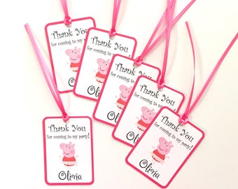 Set of 12 Personalized Thank You Party Favor Tags, Peppa Tutu Happy Birthday Party Decorations Party Paper and Supplies Thank you tags