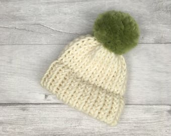 Cream and sage hat, newborn baby hat, pure wool hat, adult hat, matching hats, parent baby hat, toddler hat, beanie hats, first christmas
