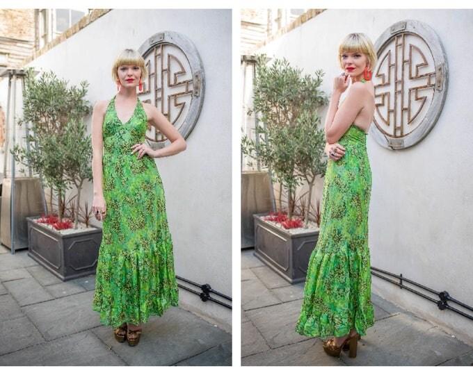 Vintage late 60's 70's Green Backless Floral Versace-esque Tropical Halterneck Maxi Dress XS XXS Cocktail