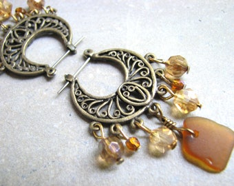 Sea Glass Chandelier Hoop Earrings, Brass Boho Jewelry, Crystal and Seaglass Dangle Earring, Earth tone, Amber Topaz Brown Bead Drops