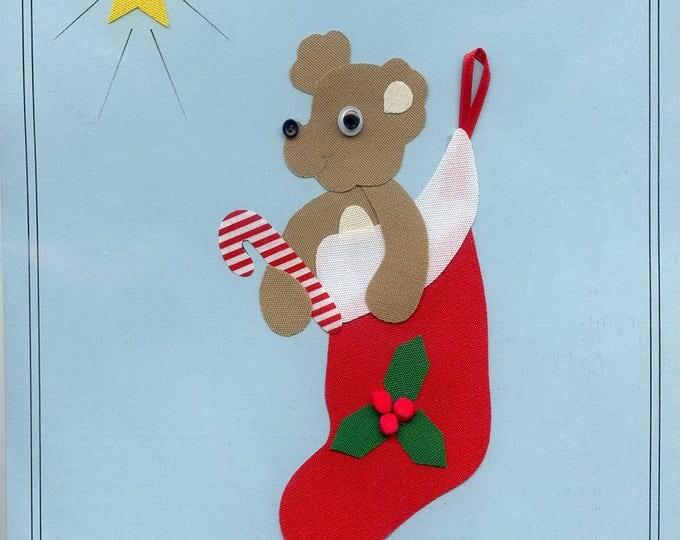 Christmas Appliqué / Bear in Stocking / Press & Sew Appliqué  / Appliqué  / Easy Christmas Outfit / Stocking Stuffer by Ellen McCarn