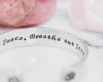 SALE Lotus flower & OM bracelet. Inspirational yoga gift. Breathe in peace breathe out love. yoga bracelet.Hand stamped quote bracelet. RTS