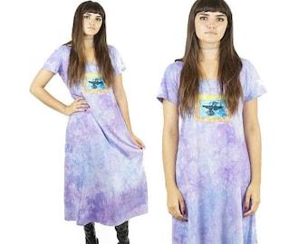 ON SALE Pastel Tie Dye 90s Patched Cotton Maxi Dress, 90s Hippie Boho Dress, Hummingbird Patch, Vintage Tie Dye Dress, Women's Size Medium