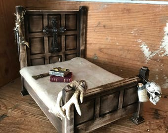 1:12th scale artisan made dollhouse bed miniatures oddities haunted doll house