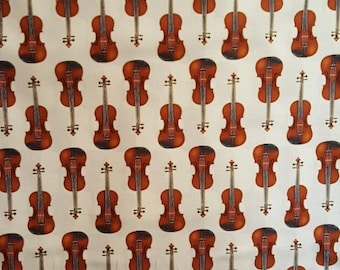 ON SALE Violin, InTune by Robert Kaufman, Music Fabric, Instrument Fabric, Fiddle, 01035A