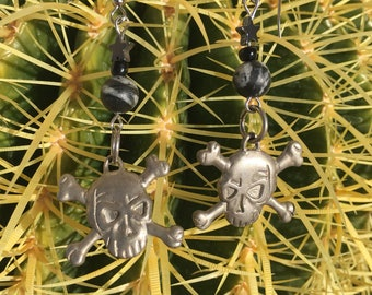 Upcycled Skull and Crossbones Earrings