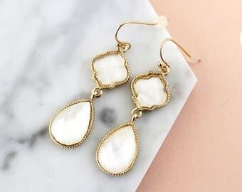 Ivory Drop Earrings, Bridal Ivory  Earrings, Bridesmaid Earrings, Blushsmaid Earrings,Prom Earrings, Prom Earrings,Flower Girl Earrings