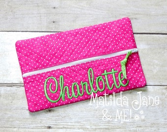 Girls Quilted Zippered Wipes Case-Personalized FREE-Make up Bag-Toy Bag-Car Bag-Snack Bag-Large Pencil-Marker Bag-Personalized Free