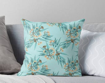 Australiana Floral Botanical Cushion Cover Duckegg Blue Watercolor Linen Cotton Throw Pillow | Made to Order | Ships in 4-6 weeks