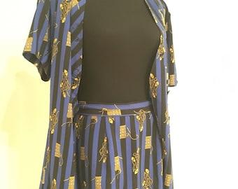 Versace'esque 2 piece mini skirt & top