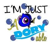 75% OFF SVG - I'm Just Adoryable - Dxf - Finding Dory - Onesie Design - Child Tshirt Design - Keep Swimming - Scrapbook Layout - Tshirt Desi