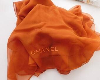Chanel Scarf , 100% SILK CHANEL Wrap Big Shawl , Chanel Orange Silk shawl , RARE Chanel Silk Scarf