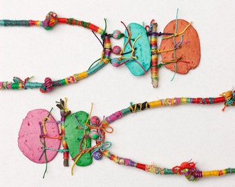 Colorful boho necklace, rustic tribal jewelry, mixed media statement necklace with clay beads and twigs, OOAK