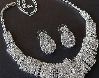 Diamante Rhinestone Wedding Necklace Earring Demi Set Silver Metal Statement Vintage