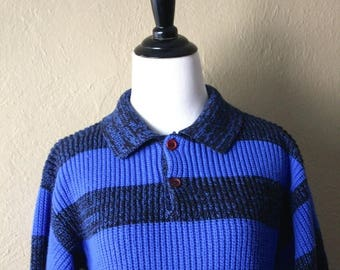 Clearance Sale 80's Stripped Rugby Style Knit Sweater