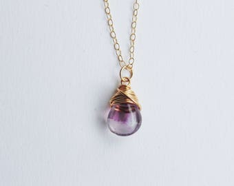 Small purple rainbow fluorite teardrop gemstone wire wrapped pendant 14ct gold filled fine chain necklace